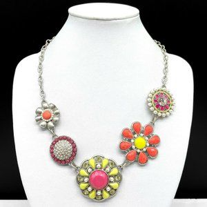 Lia Sophia Flower Faux Pearl Rhinestone Necklace